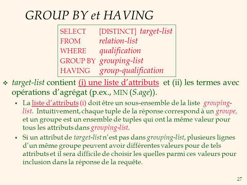GROUP BY et HAVING SELECT [DISTINCT] target-list. FROM relation-list. WHERE qualification.